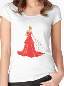 Blonde girl in Red dress Women's Fitted Scoop T-Shirt