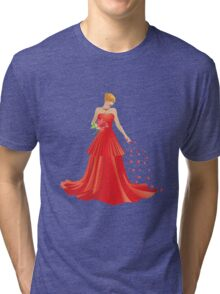 Blonde girl in Red dress Tri-blend T-Shirt