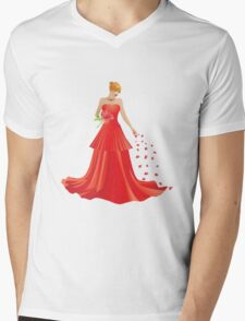 Blonde girl in Red dress Mens V-Neck T-Shirt