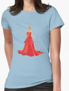 Blonde girl in Red dress Womens Fitted T-Shirt
