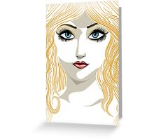 Blond girl with blue eyes Greeting Card