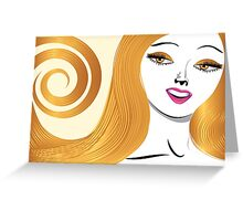Blond girl with yellow eyes Greeting Card