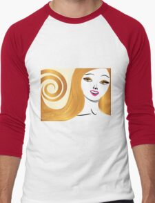 Blond girl with yellow eyes Men's Baseball ¾ T-Shirt