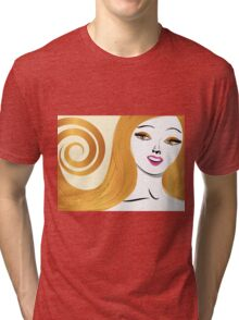 Blond girl with yellow eyes Tri-blend T-Shirt
