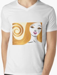 Blond girl with yellow eyes Mens V-Neck T-Shirt