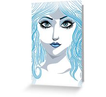 Fantasy blue haired girl Greeting Card