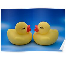 Cute Kids Bath Time Yellow Rubber Ducks Blue Sky Poster