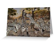 """Zebra Stallions"" - Oil Painting Greeting Card"