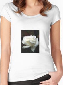 Close up of white rose 14 Women's Fitted Scoop T-Shirt