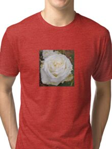 Close up of white rose 15 Tri-blend T-Shirt