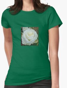 Close up of white rose 15 Womens Fitted T-Shirt