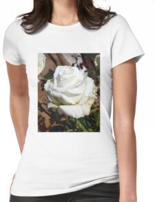 White Rose in the Garden 11 Womens Fitted T-Shirt