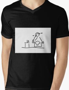 in the armchair music hearing relaxing Mens V-Neck T-Shirt