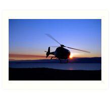 Helicopter over Lake Baikal Art Print