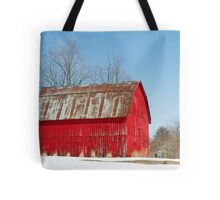Red Barn and Snow Tote Bag