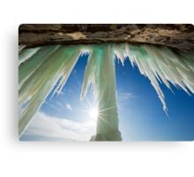 Sun Burst on Grand Island Ice Curtain near Munising Michigan Canvas Print