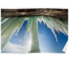 Sun Burst on Grand Island Ice Curtain near Munising Michigan Poster