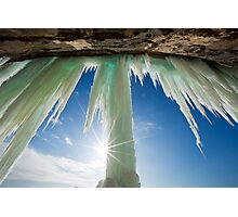 Sun Burst on Grand Island Ice Curtain near Munising Michigan Photographic Print
