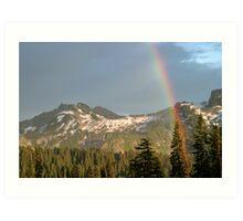 Rainbow over Mountains Art Print