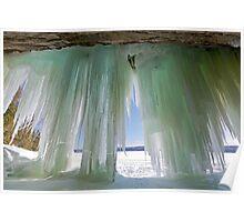 Ice Curtains on Grand Island near Munising Michigan Poster