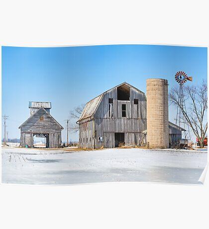 Snowy Farm Scene Poster