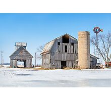 Snowy Farm Scene Photographic Print