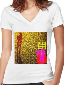 Blond Women's Fitted V-Neck T-Shirt