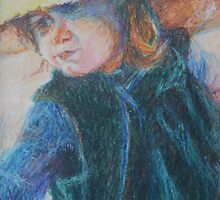 Big Hat - A Girl In A Blue Outfit by Nancy Mauerman