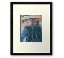 Big Hat - A Girl In A Blue Outfit Framed Print