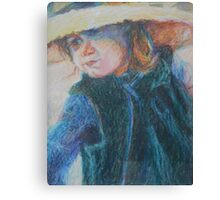 Big Hat - A Girl In A Blue Outfit Canvas Print