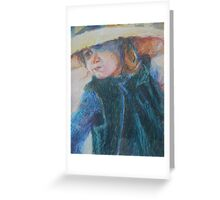 Big Hat - A Girl In A Blue Outfit Greeting Card