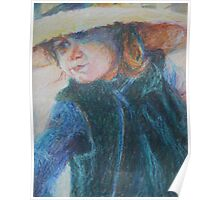 Big Hat - A Girl In A Blue Outfit Poster