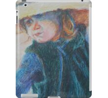 Big Hat - A Girl In A Blue Outfit iPad Case/Skin