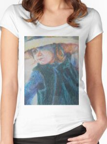 Big Hat - A Girl In A Blue Outfit Women's Fitted Scoop T-Shirt