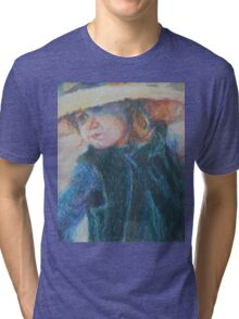 Big Hat - A Girl In A Blue Outfit Tri-blend T-Shirt
