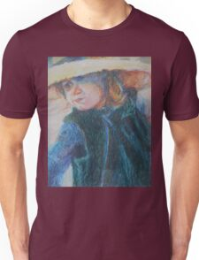 Big Hat - A Girl In A Blue Outfit Unisex T-Shirt
