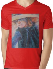 Big Hat - A Girl In A Blue Outfit Mens V-Neck T-Shirt