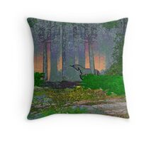 Unicorn in the Misty Woods Throw Pillow