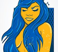 Birds with the Blue hair beauty  by joebarondesign