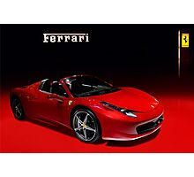 Red ferrari convertible Photographic Print