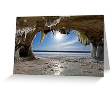 Lake Superior Cave on Grand Island in Winter - Munising Michigan Greeting Card