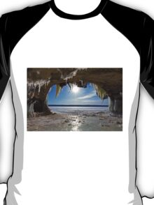 Lake Superior Cave on Grand Island in Winter - Munising Michigan T-Shirt