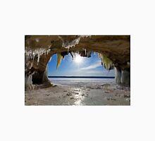 Lake Superior Cave on Grand Island in Winter - Munising Michigan T-Shirt