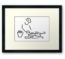 bricklayer construction worker building Framed Print