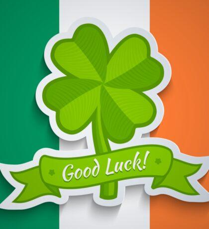 Clover on Irish flag for Patrick day Sticker