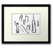 new York the Statue of Liberty skyscraper Framed Print