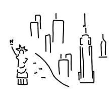 new York the Statue of Liberty skyscraper Photographic Print