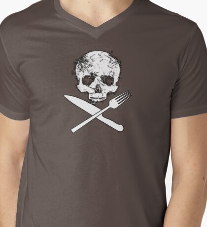 Skull and Cutlery Mens V-Neck T-Shirt