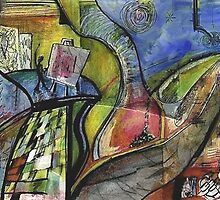ARTIST IN ABSTRACT LANDSCAPE(C1998) by Paul Romanowski