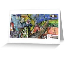 ARTIST IN ABSTRACT LANDSCAPE(C1998) Greeting Card